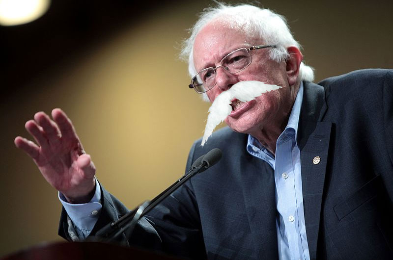 Fired-Up Bernie Sanders Sprouts Huge Mustache During Campaign Rally