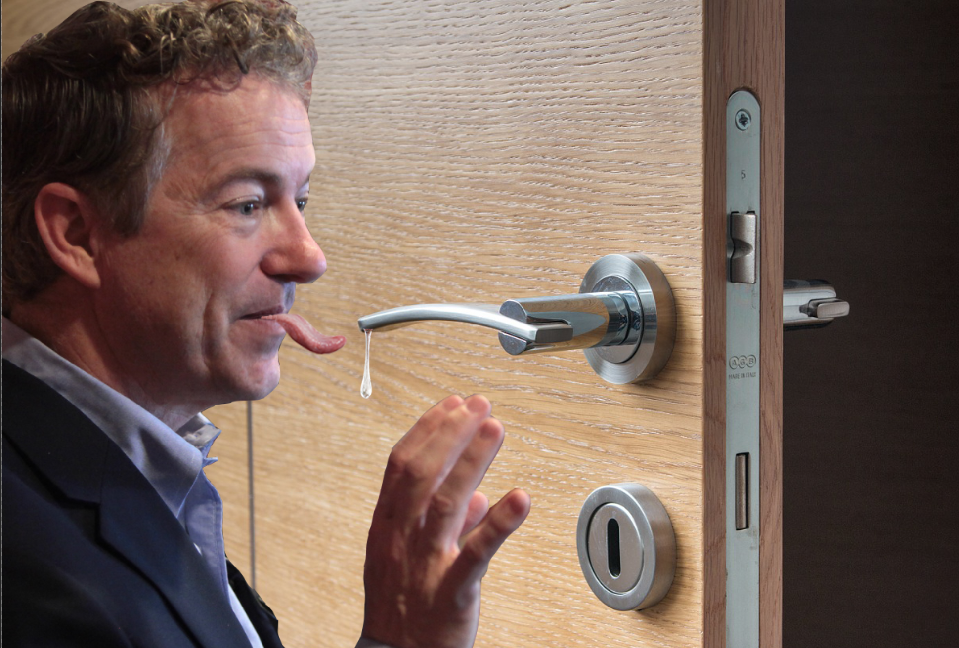 Rand Paul licks and slobbers on doorknob while encouraging americans to achieve herd immunity